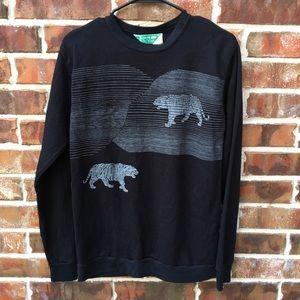 Vintage tiger black sweatshirt 80s Halloween Med
